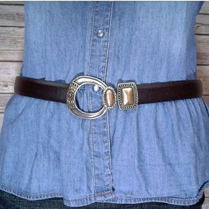 Chicos💯leather brown belt western metal buckle